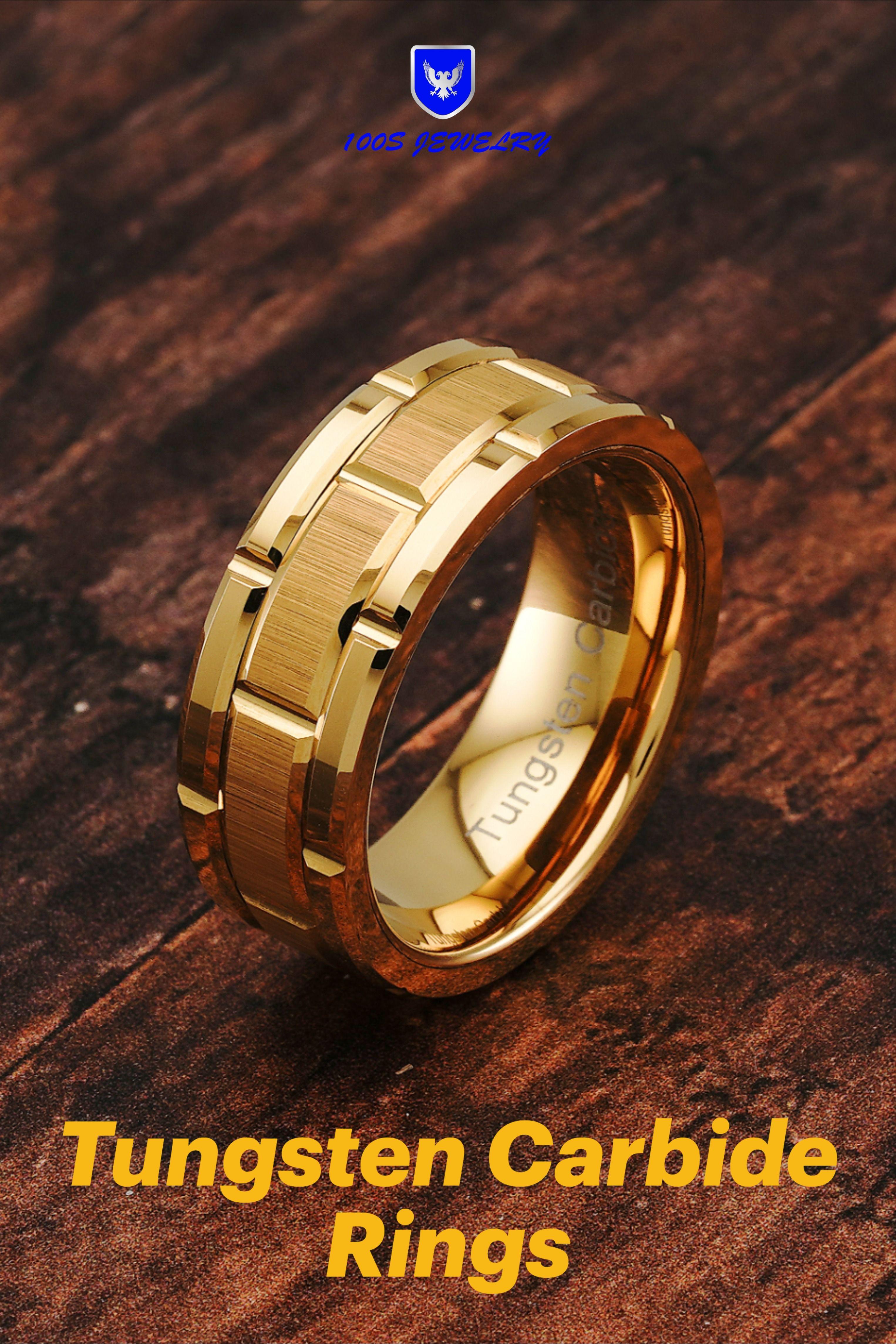 Tungsten Carbide Ring for Men Wedding Band Gold Brick