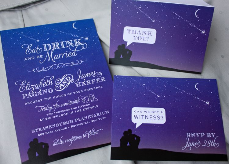 Purple And Blue Wedding Invitations: Blue & Purple Night Sky With Shooting Stars & Stargazing