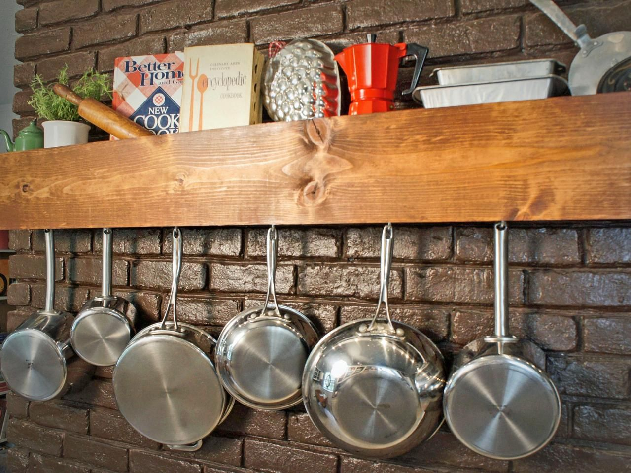 10 Wall Mounted Pot Rack And Pan Storage Ideas That Rock Kitchen Storage Shelves Diy Kitchen Storage Kitchen Storage