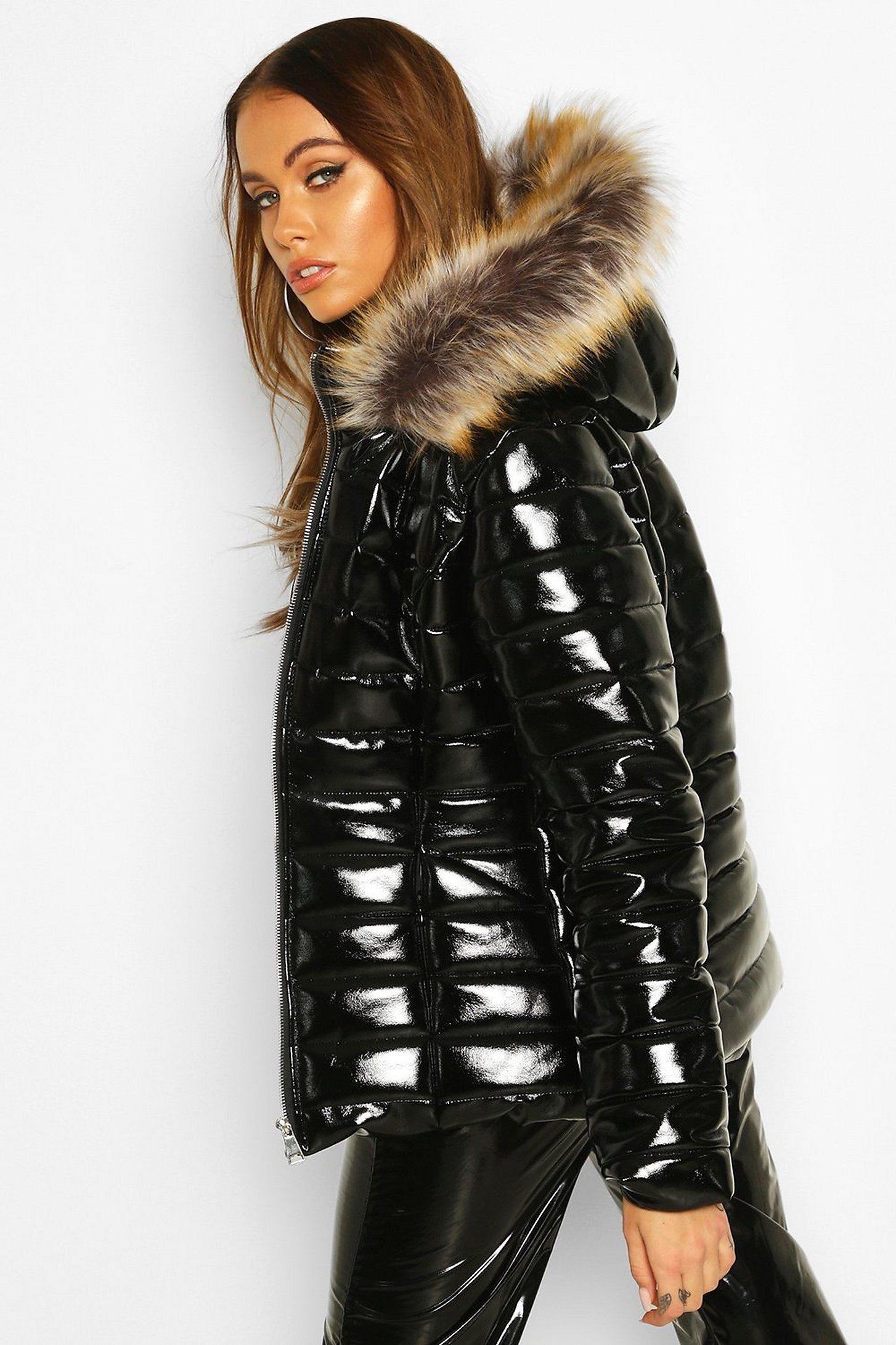 High Shine Faux Fur Trim Puffer Boohoo Women S Puffer Coats Puffer Coat With Fur Fur Hood Jacket [ 2181 x 1454 Pixel ]