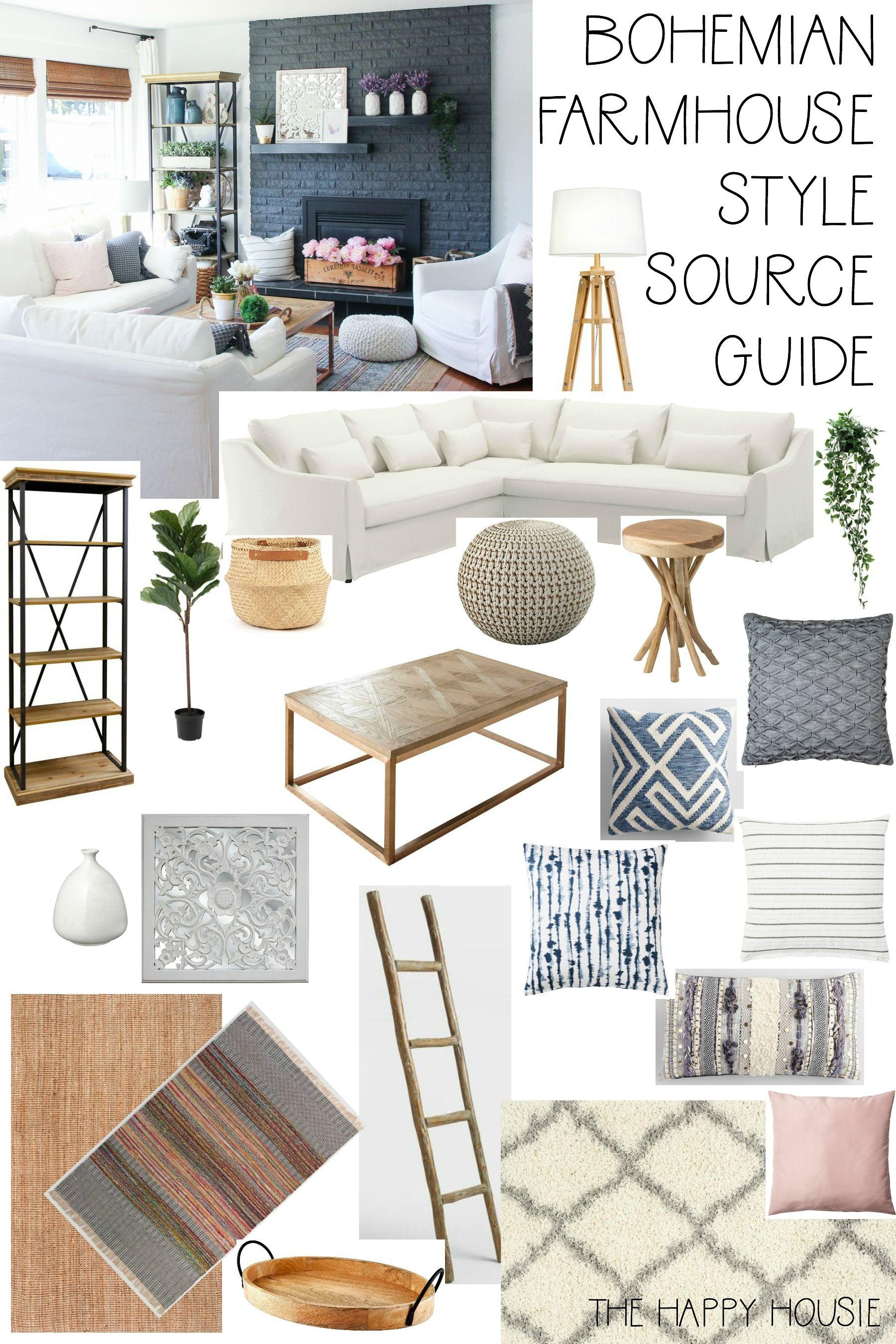 Boho farmhouse living room source guide boho living room