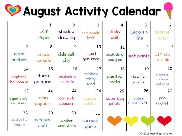 Create A Memorable Summer With This August Activity Calendar