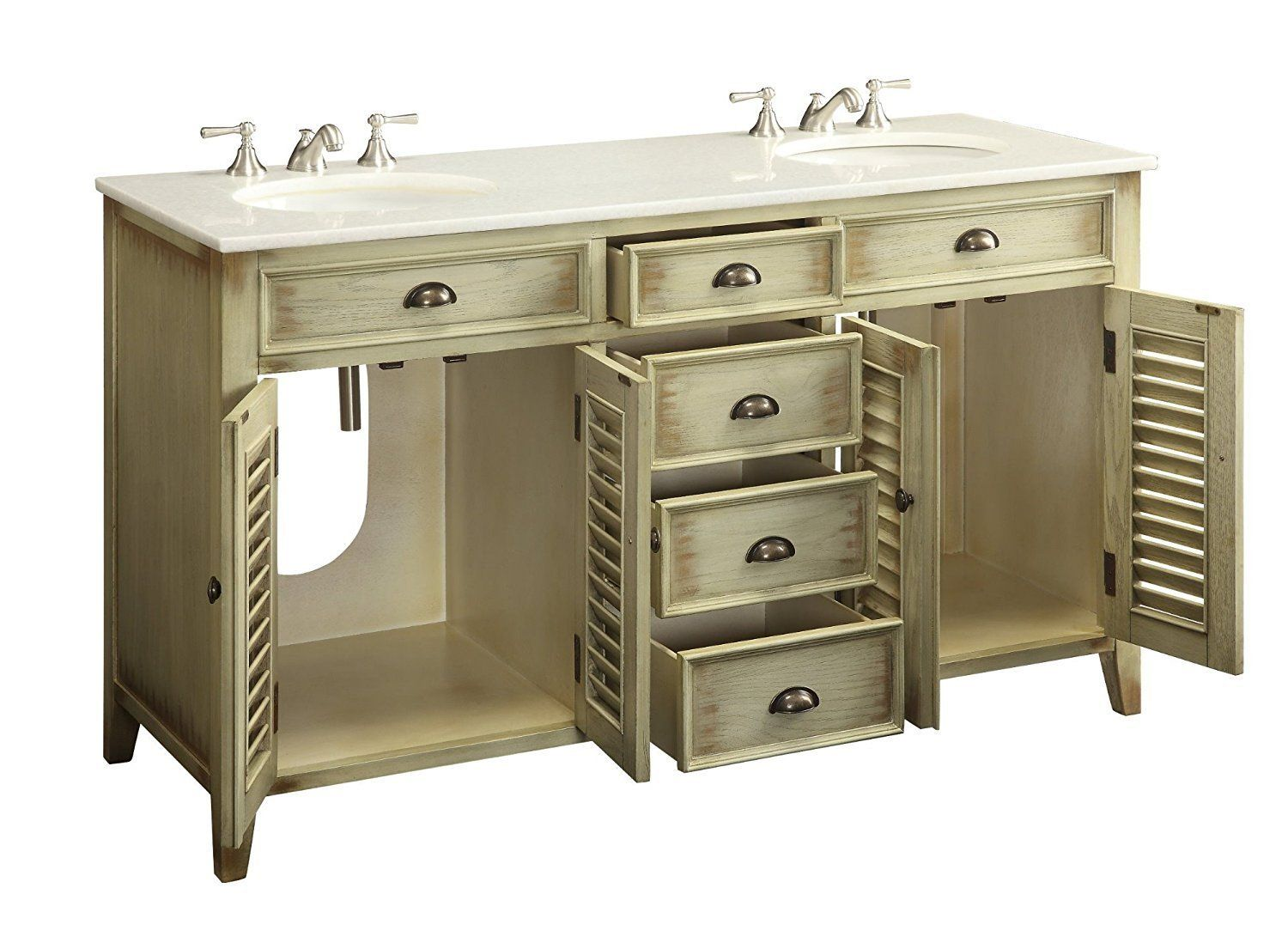 Gorgeous Beach Cottage Look Double Sink Bathroom Vanity - Bathroom vanities palm beach