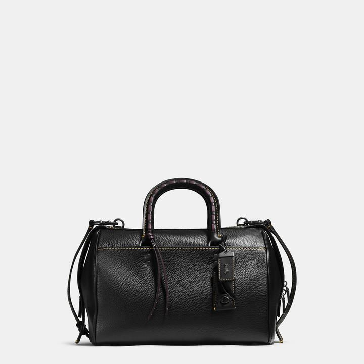 COACH Coach Rogue Satchel In Glovetanned Pebble Leather With Embellished Handle
