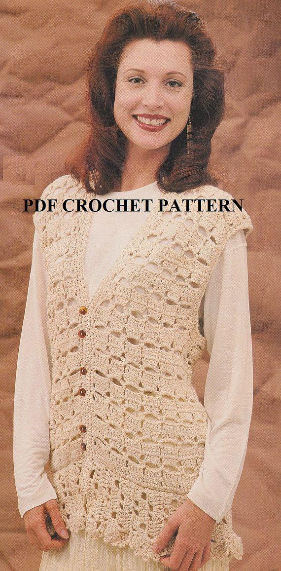 Crochet Womans Vest Pattern Kc0622 Intermediate Skill Level