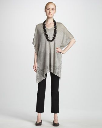87bbaac3ed Lace Trim Tunic   Skinny Ankle Pants by Eileen Fisher at Neiman Marcus.