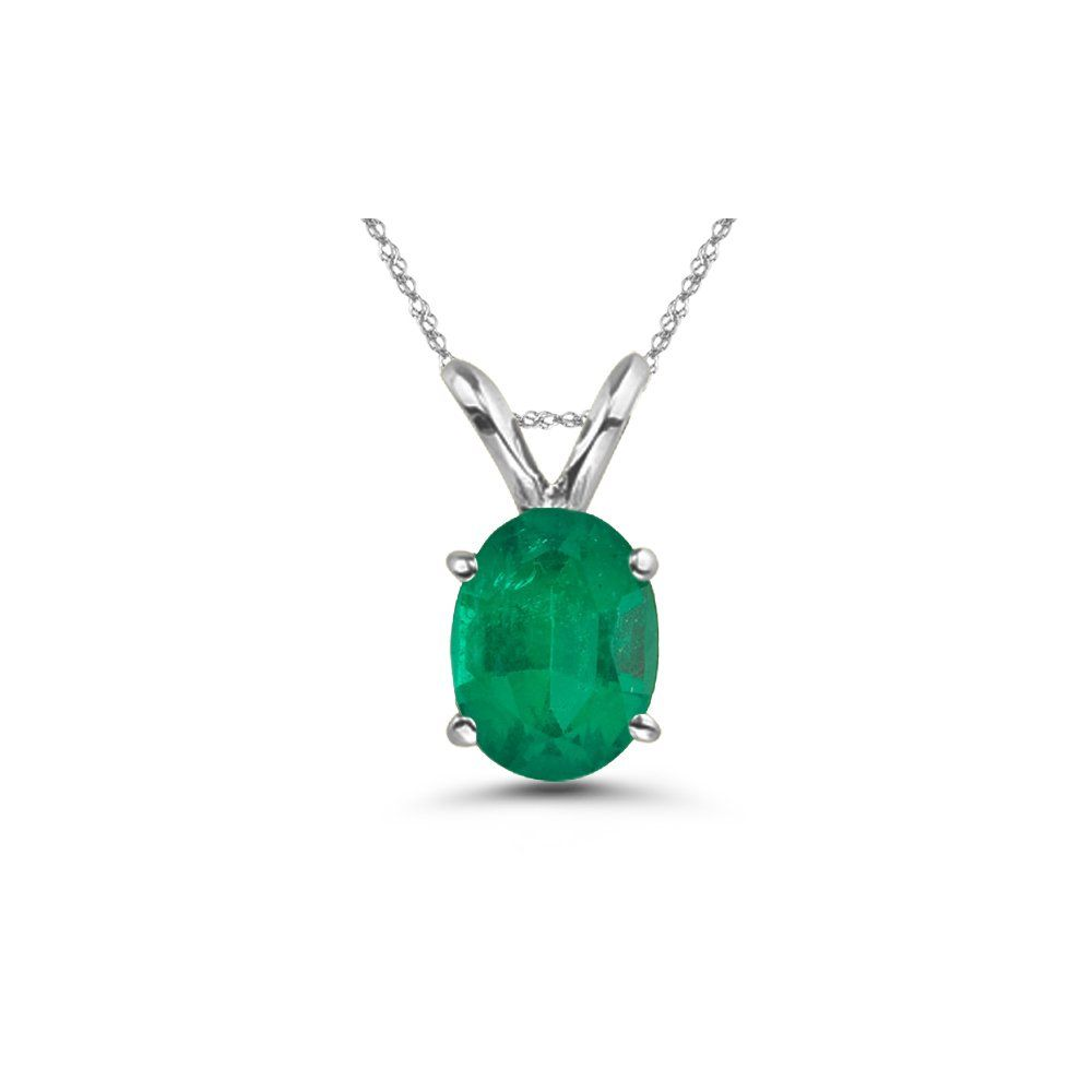 cts of x mm aa oval natural emerald solitaire pendant in