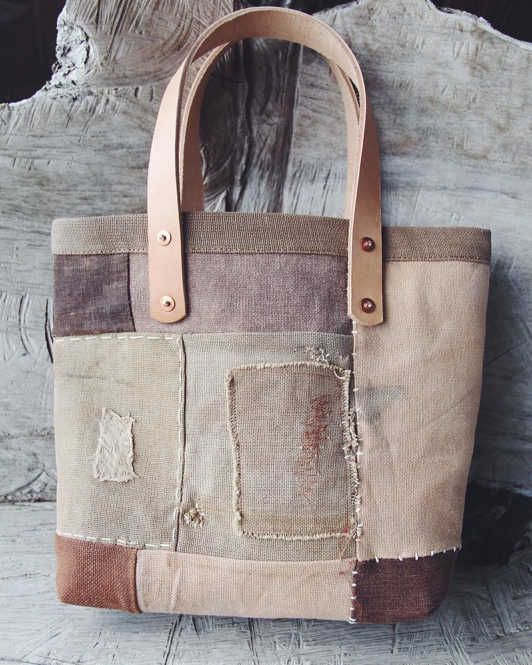 Patched persimmon dyed medium tote bag Made of SAKE sack and SHOYUsoy sauce sack They told us so many stories Source by rayttmw Accs