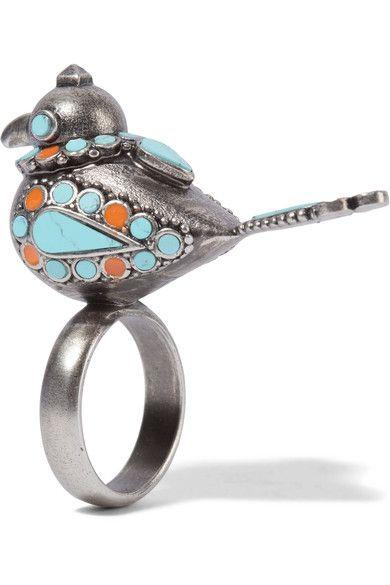 Burnished Silver-tone Ring - 13 Valentino bD1NLN