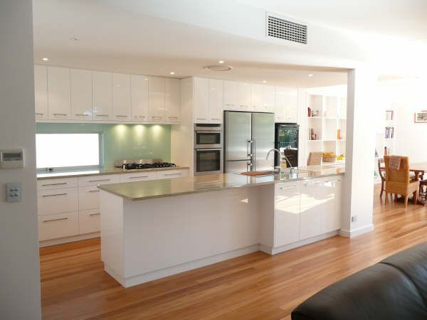 white and wood floor kitchen design idea http://toolfanatic