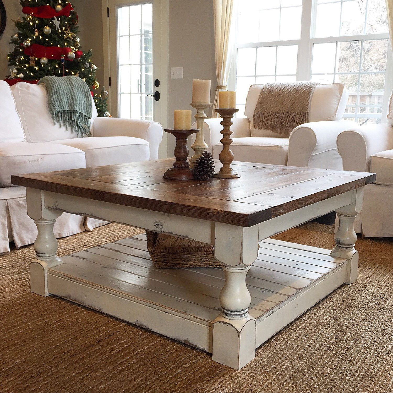 Farmhouse Harvest Table Distressed White And Walnut Top Coffee