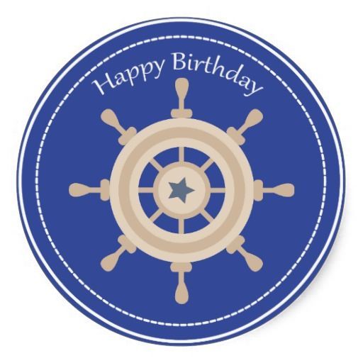 Boats Wheel Nautical Happy Birthday Sticker Happy birthday