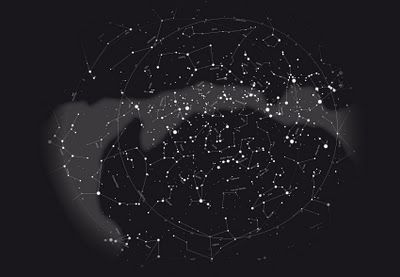 A digital illustration of the stars of the northern hemisphere I designed for the Hamburg Planetarium. It's been used for big umbrellas and the elevator ceiling.