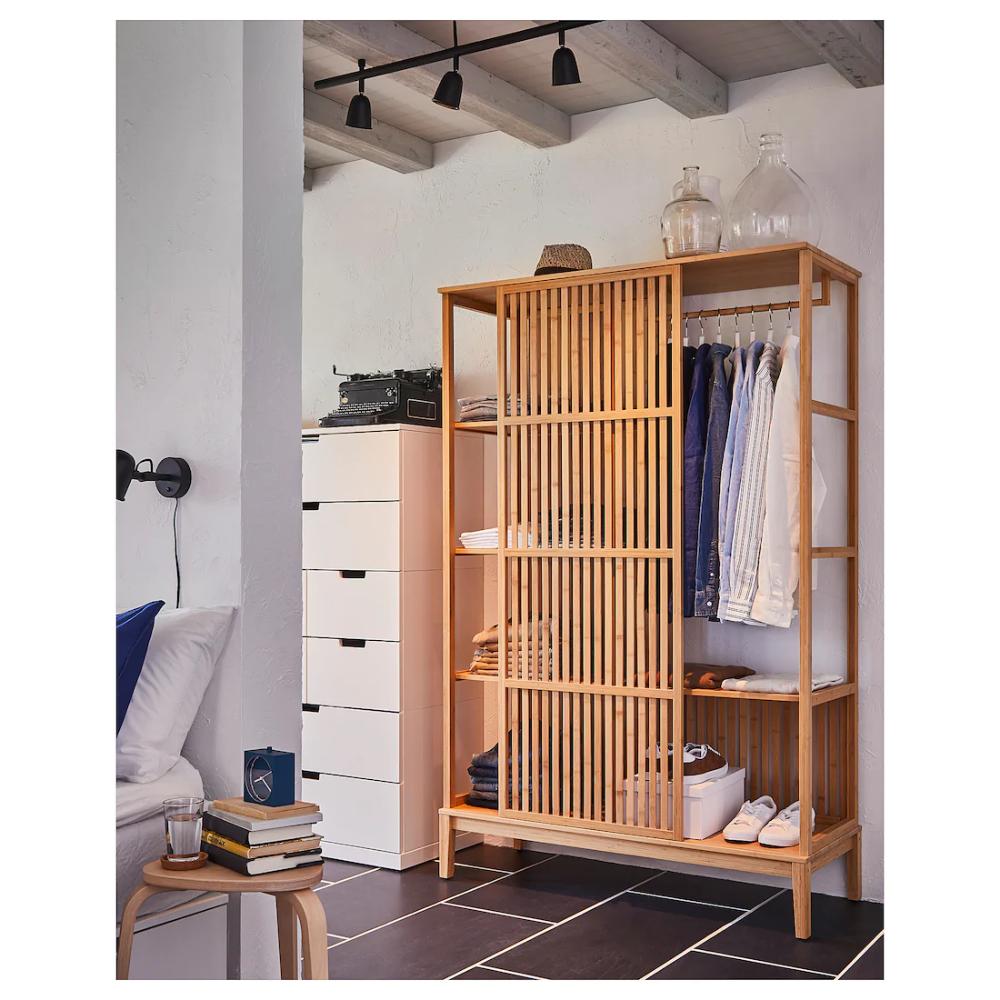 Nordkisa Open Wardrobe With Sliding Door Bamboo Width 47 1 4 Height 73 1 4 Find It Here Ikea In 2020 Sliding Wardrobe Doors Open Wardrobe Scandinavian Furniture Design