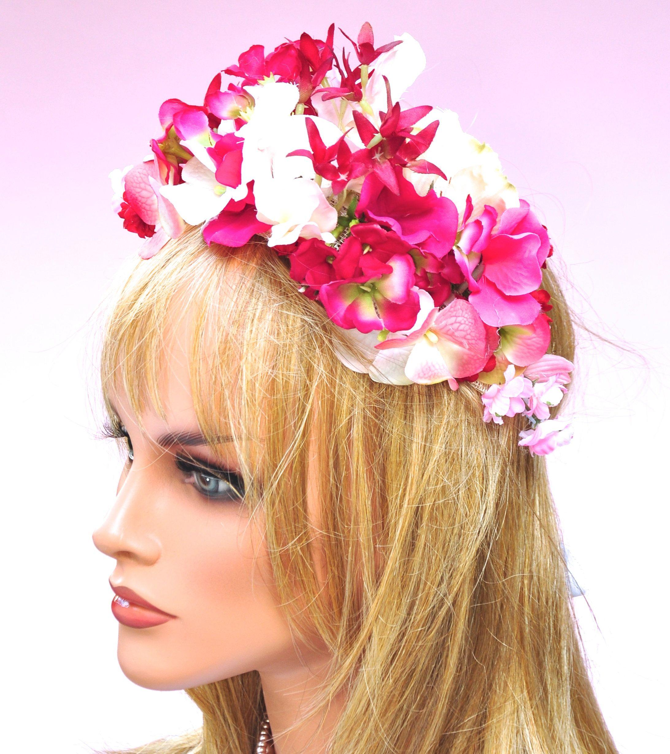 Pink Flower Headpiece Flower Crown Wedding Headpiece Wedding