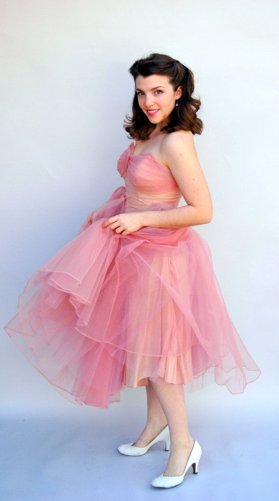 Vintage 1950s Dress - Pink Fluff - Dusty Pink Tulle Cupcake Tea ...