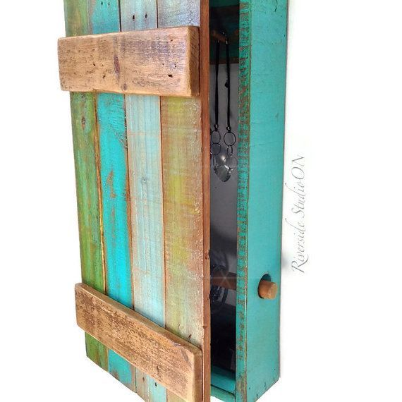 Hanging Wood Jewelry Organizer With Door and Bracelet Bar Shabby
