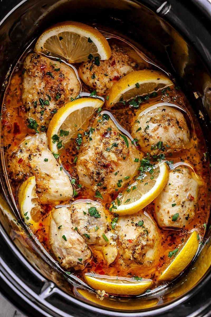 Crock Pot Lemon Garlic Butter Chicken -  Crock Pot Lemon Garlic Butter Chicken – – Easy and del