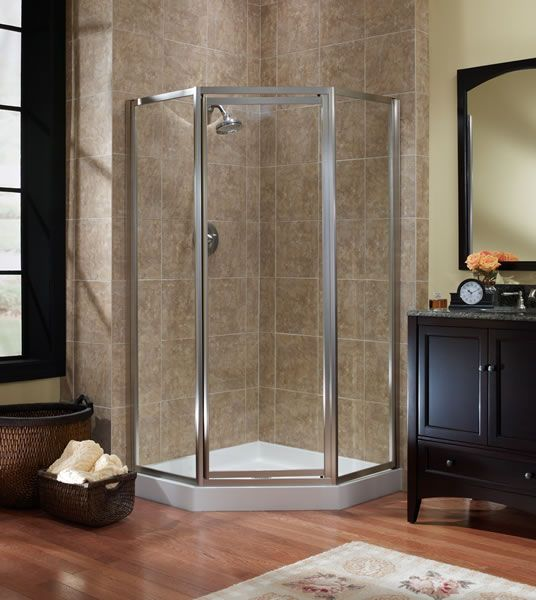 neo angle shower with brushed nickel  bathroom shower