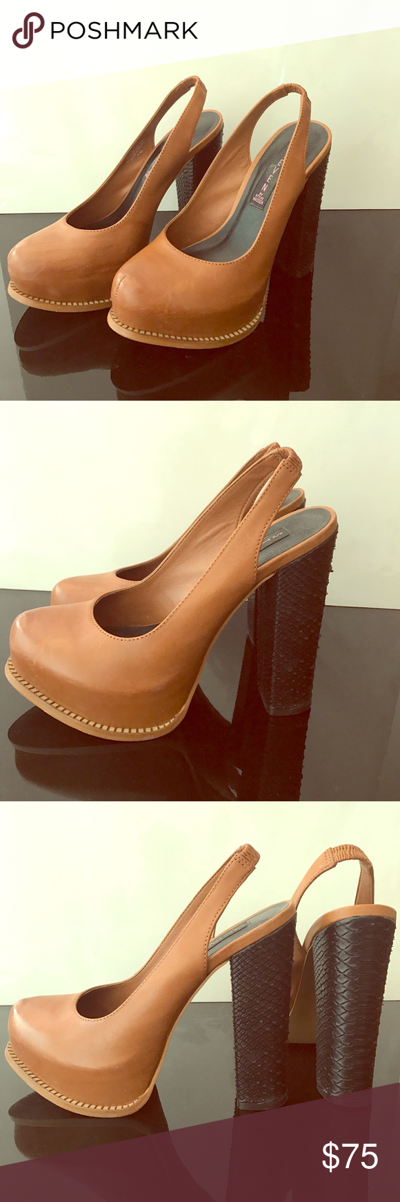 Brown platforms, genuine leather, high heels Genuine leather brown platforms with black textured heels. Excellent condition, only worn once. Steven by Steve Madden Shoes Platforms