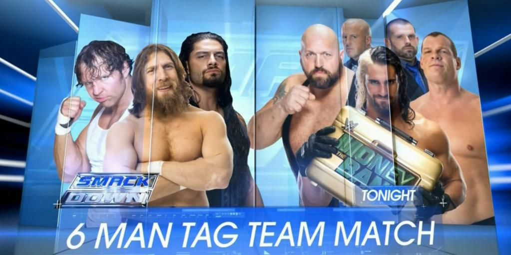 TONIGHT on @WWE #SmackDown on @Syfy: Ambrose, Reigns & Bryan vs. Big Show, Rollins & Kane!  #6ManTag