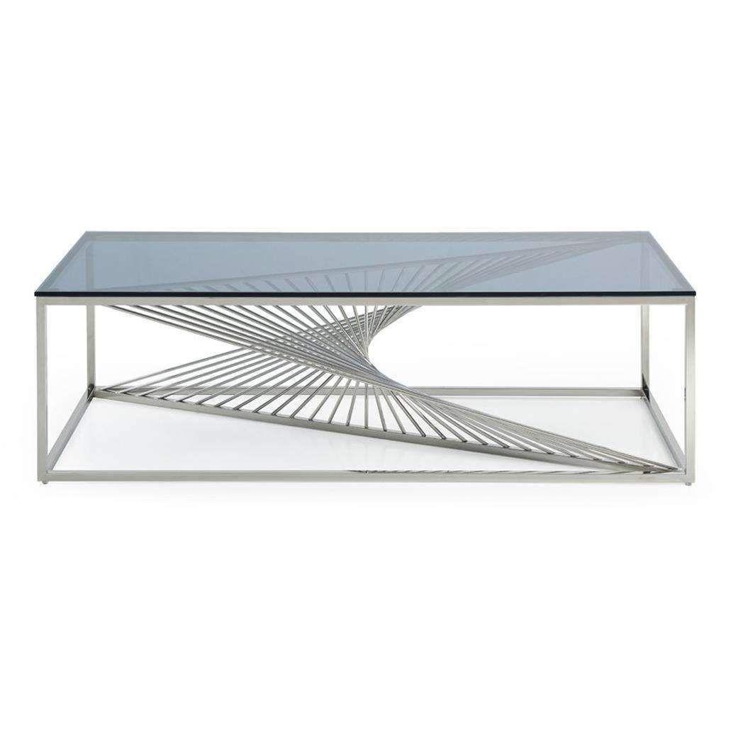 Modrest Trinity Modern Glass Stainless Steel Coffee Table