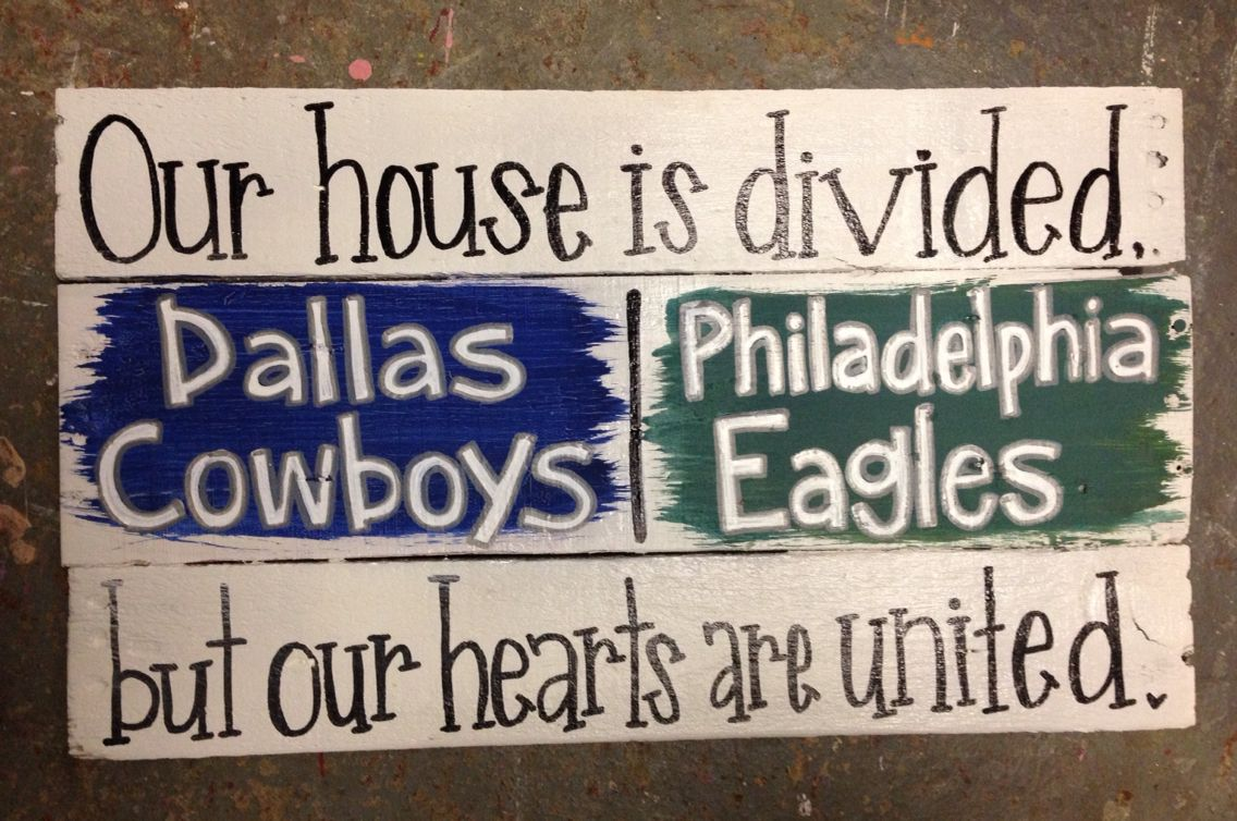 House Divided Sign Homemade Diy Pallet Pieces Dallas Cowboys And Philadelphia Eagles Home Decor She S Crafty By Sg