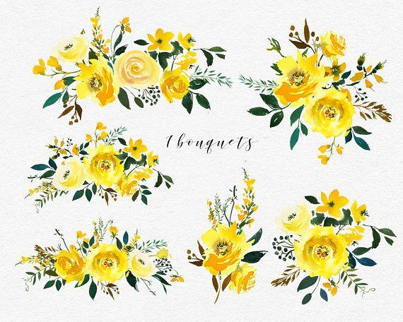 Aquarelle Jaune Fleurs Pivoines Roses Ensemble Clipart Mariage