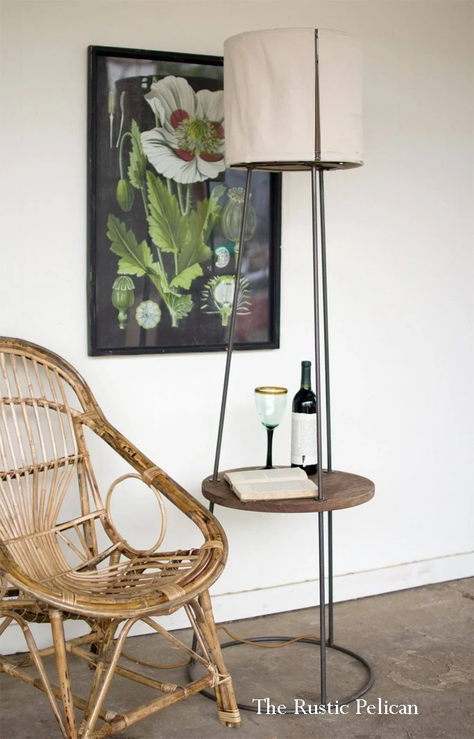 FREE SHIPPING Side table floor lamp with canvas shade in