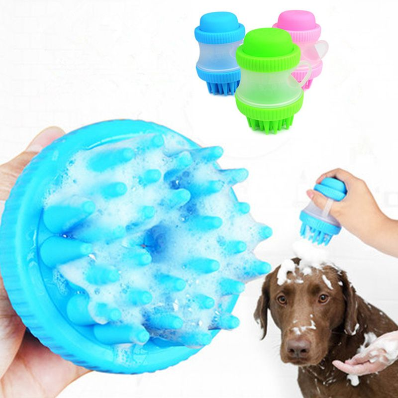Pet Cat Dog Grooming Comb Bath Soft Massage Brush With