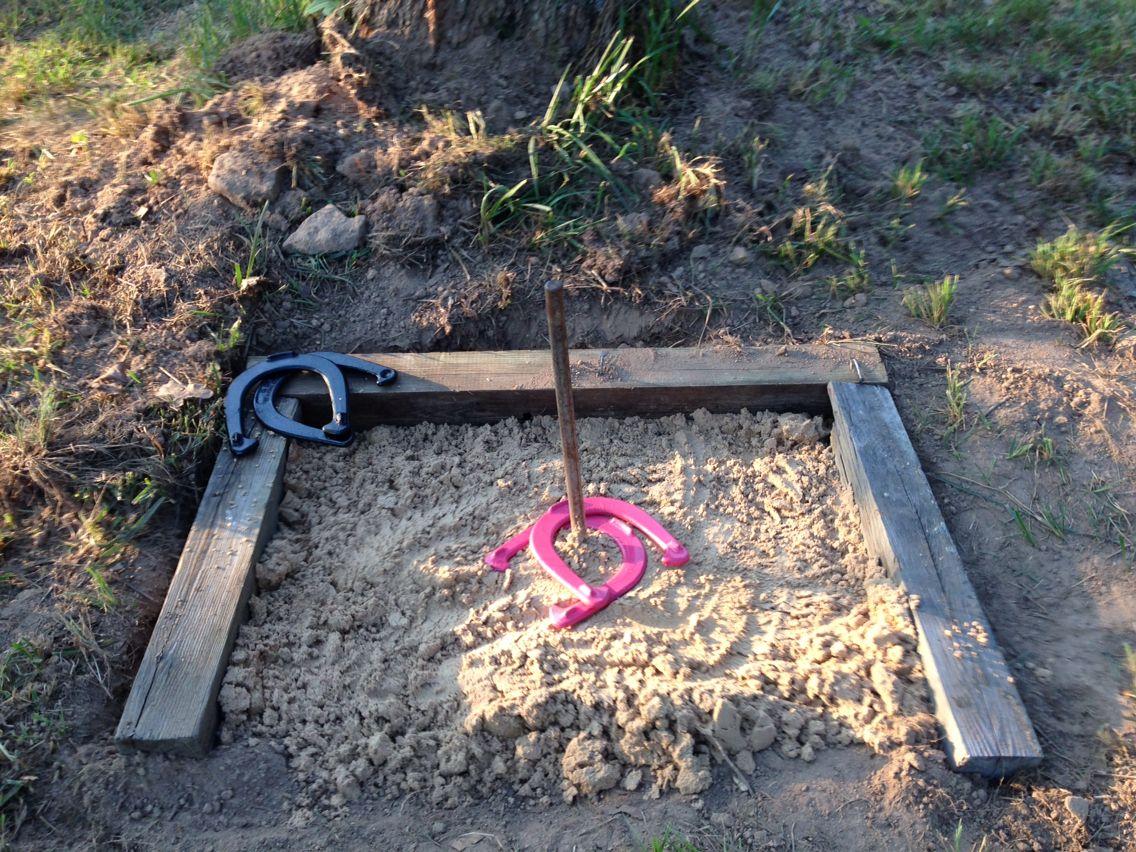 my horseshoe pit i made pinterest