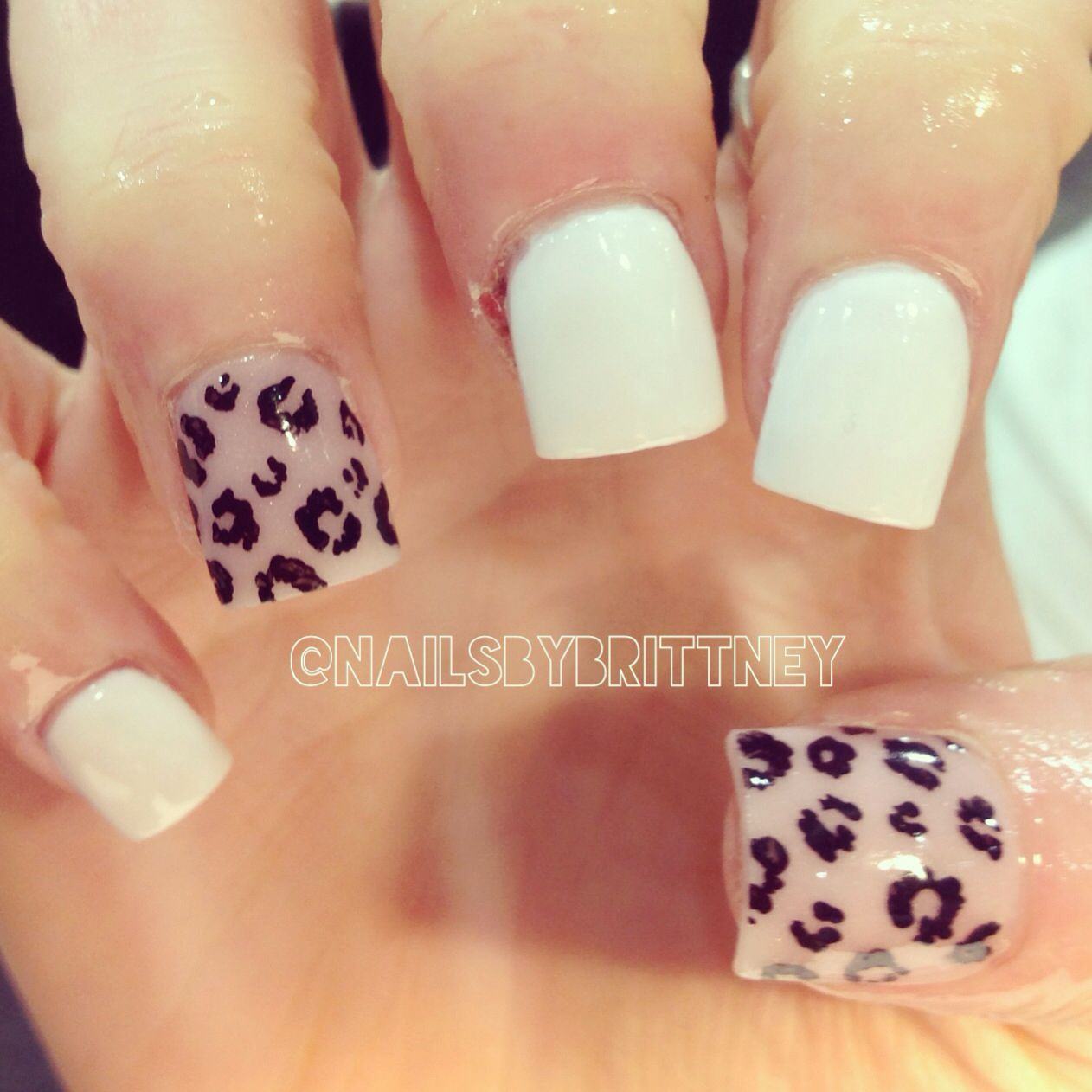 White nails with leopard accents | Nails | Pinterest | White nails ...