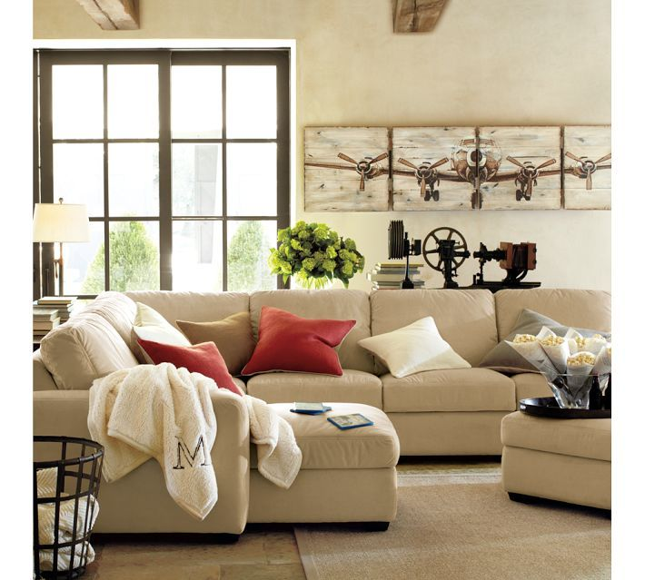 Ultimate Sectional From Pottery Barn Another Sectional Option With Lots Of Configuration Tan Living Room Home Living Room Living Room Furniture Arrangement