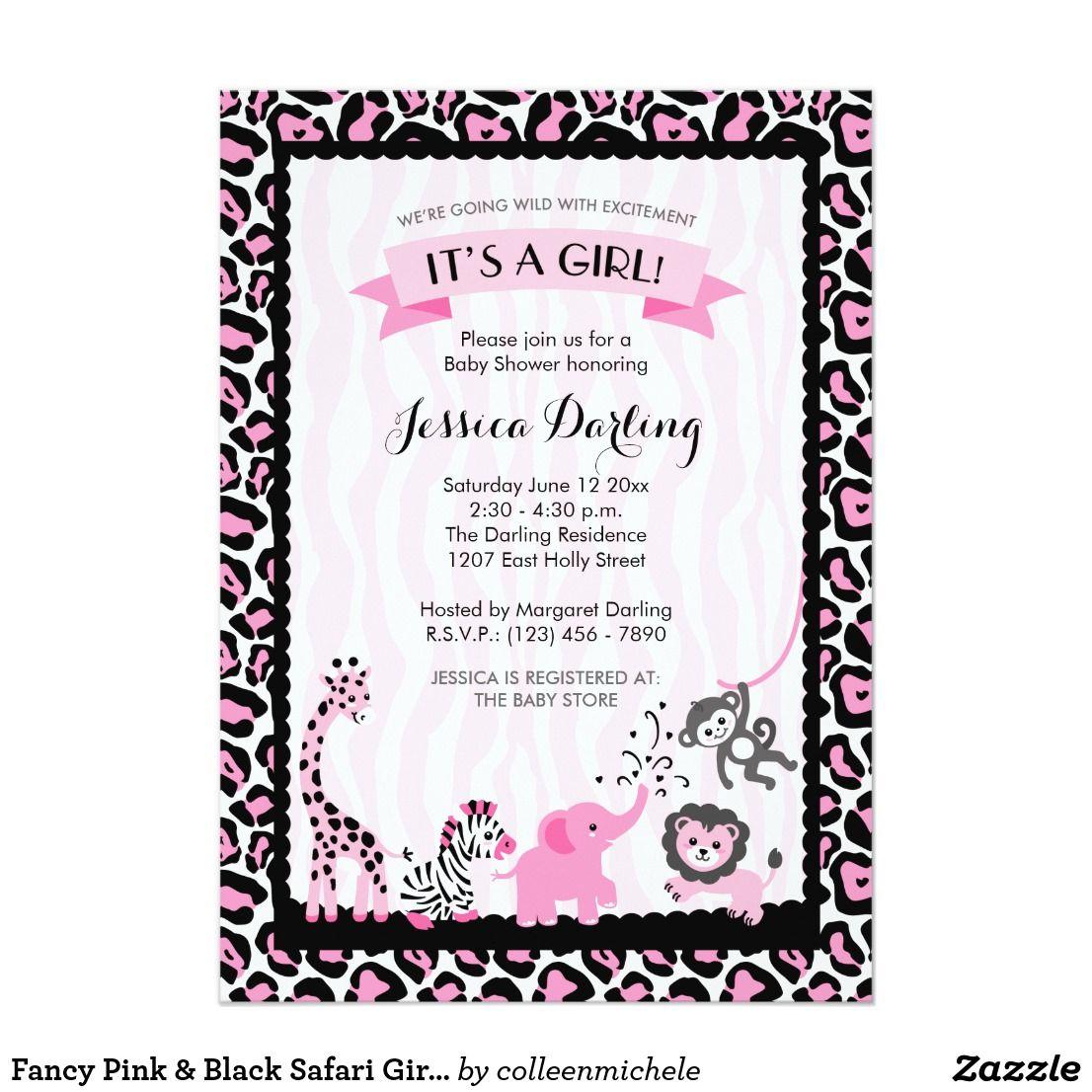 Fancy pink black safari girl baby shower card safari theme fancy pink black safari girl baby shower card filmwisefo