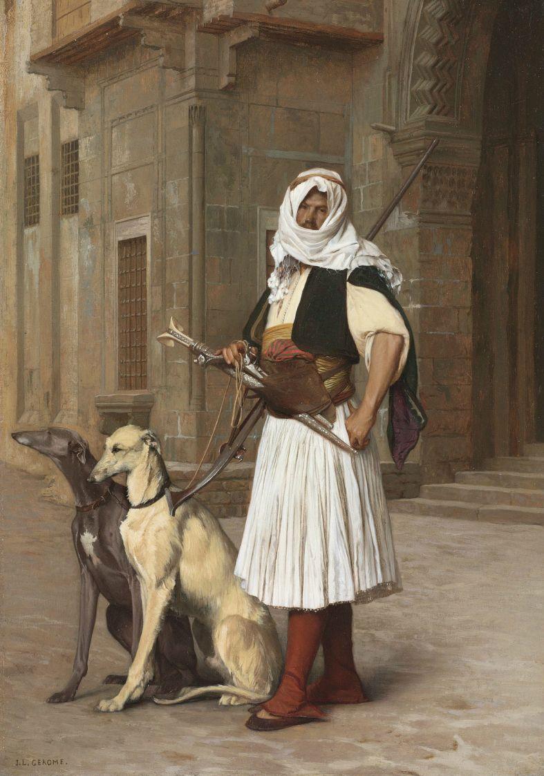 Arnaute Avec Deux Chiens Whippets 1867 Jean Léon Gérôme Oil On Panel Greyhound Kunst Hundekunst Whippet