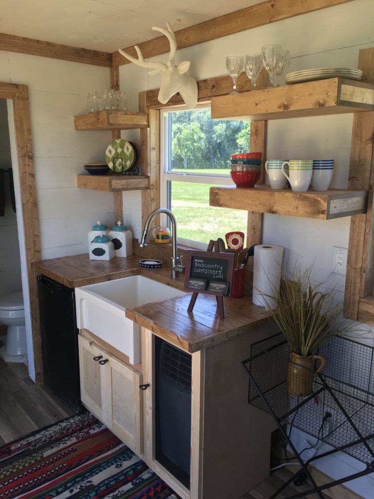 Rustic Retreat Shipping Container Tiny House 29 9k Tiny House Kitchen Tiny Cabin Kitchen Tiny Kitchen Design