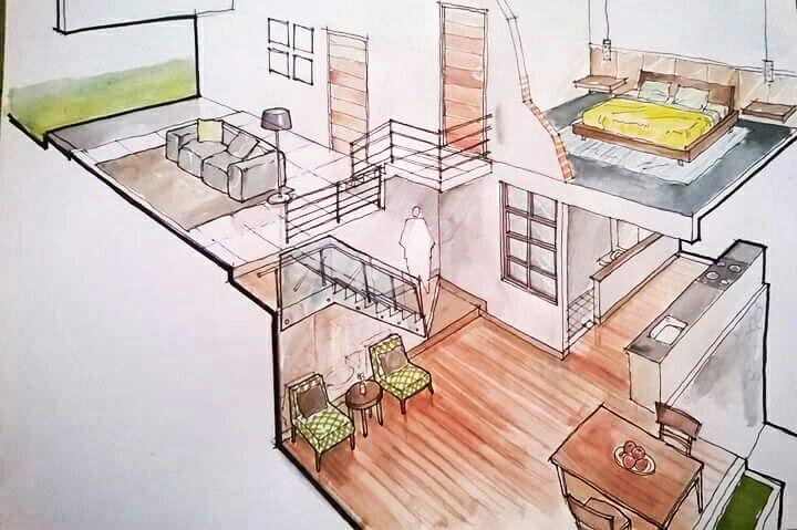 Sketsa Isometri Rumah Split Level Sketsa Desain Design Layout Interior Pavilionsembilan Sketsa Desain Interior Desain Interior Arsitektur Minimalis