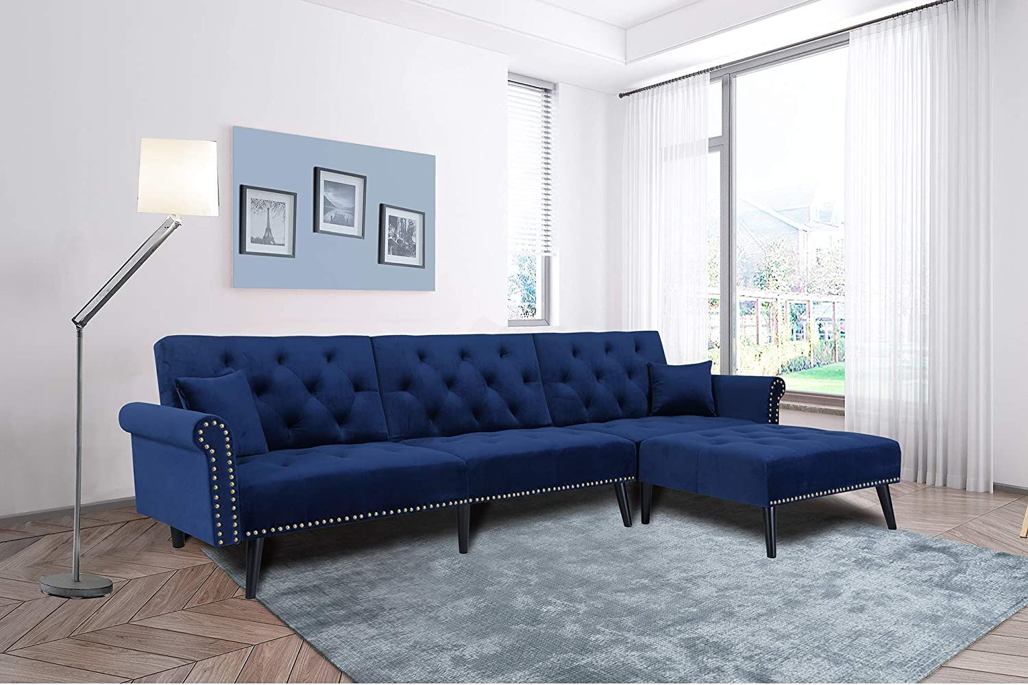 Navy Blue Sectional Sofa Sleeper Bed Julyfox 900lb Heavy Duty115 Inch Velvet Futon W Chaise Recliner In 2020 Futon Sofa Small Living Rooms Sofa Bed Set