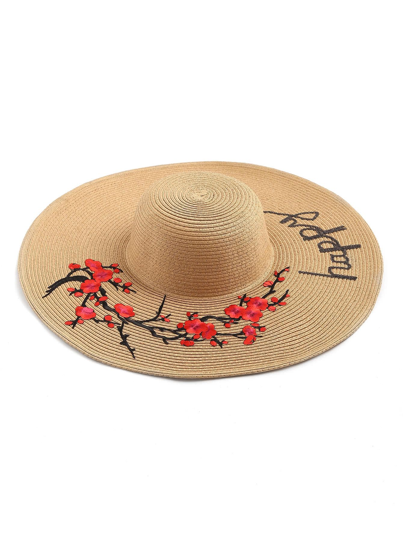 Sombrero de paja con bordado y ala ancha -Spanish SheIn(Sheinside ... df46f739b2e