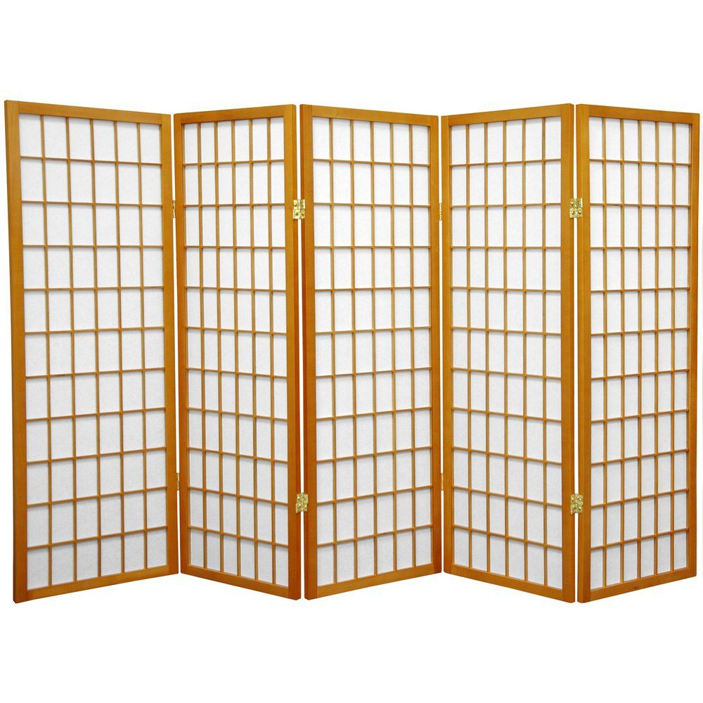 Oriental Furniture 4 ft Tall Window Pane Shoji Screen 5 Panel