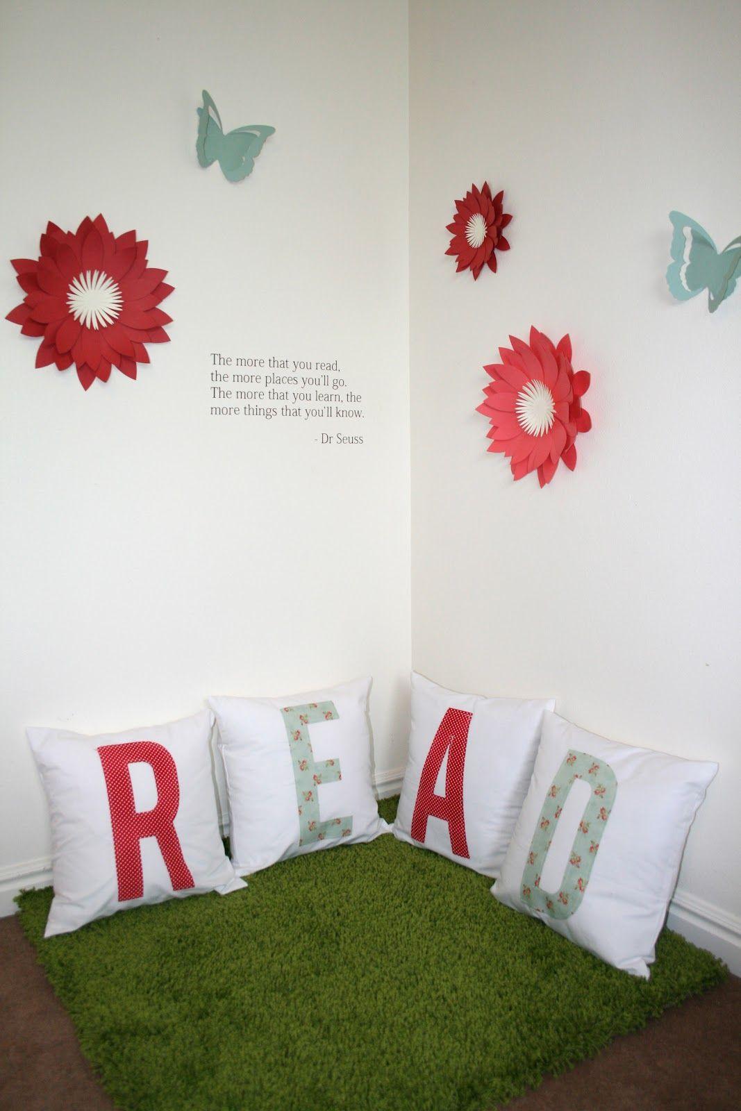 Corner Wall Art reading corner series - dimensional wall art - cute for schools