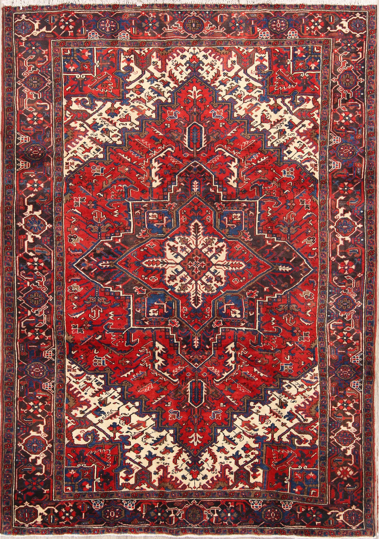 Geometric Red 7x10 Heriz Serapi Persian Area Rug Persian Area Rugs Rugs On Carpet Rugs