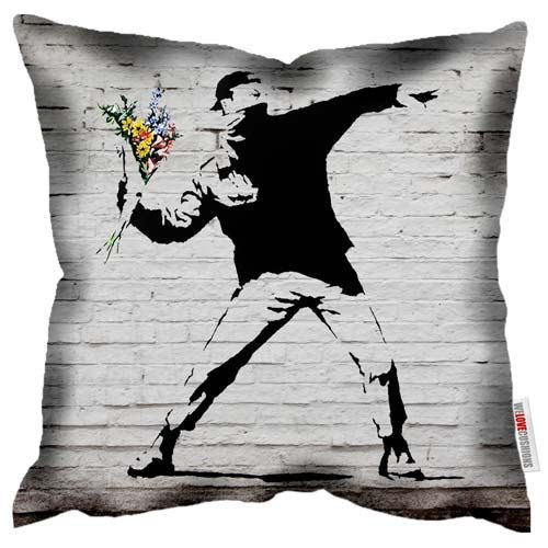 Flower Thrower Graffiti Banksy Cushion Printed Pillow With Zip Pad Or Cover Only Sofas Beds Housewares Design Deco Street Art