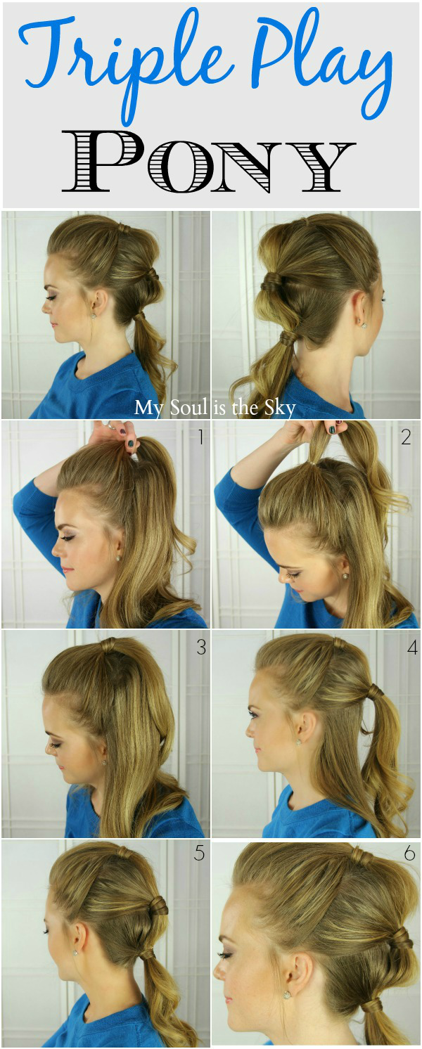Triple ponytail hair and nails pinterest ponytail easy