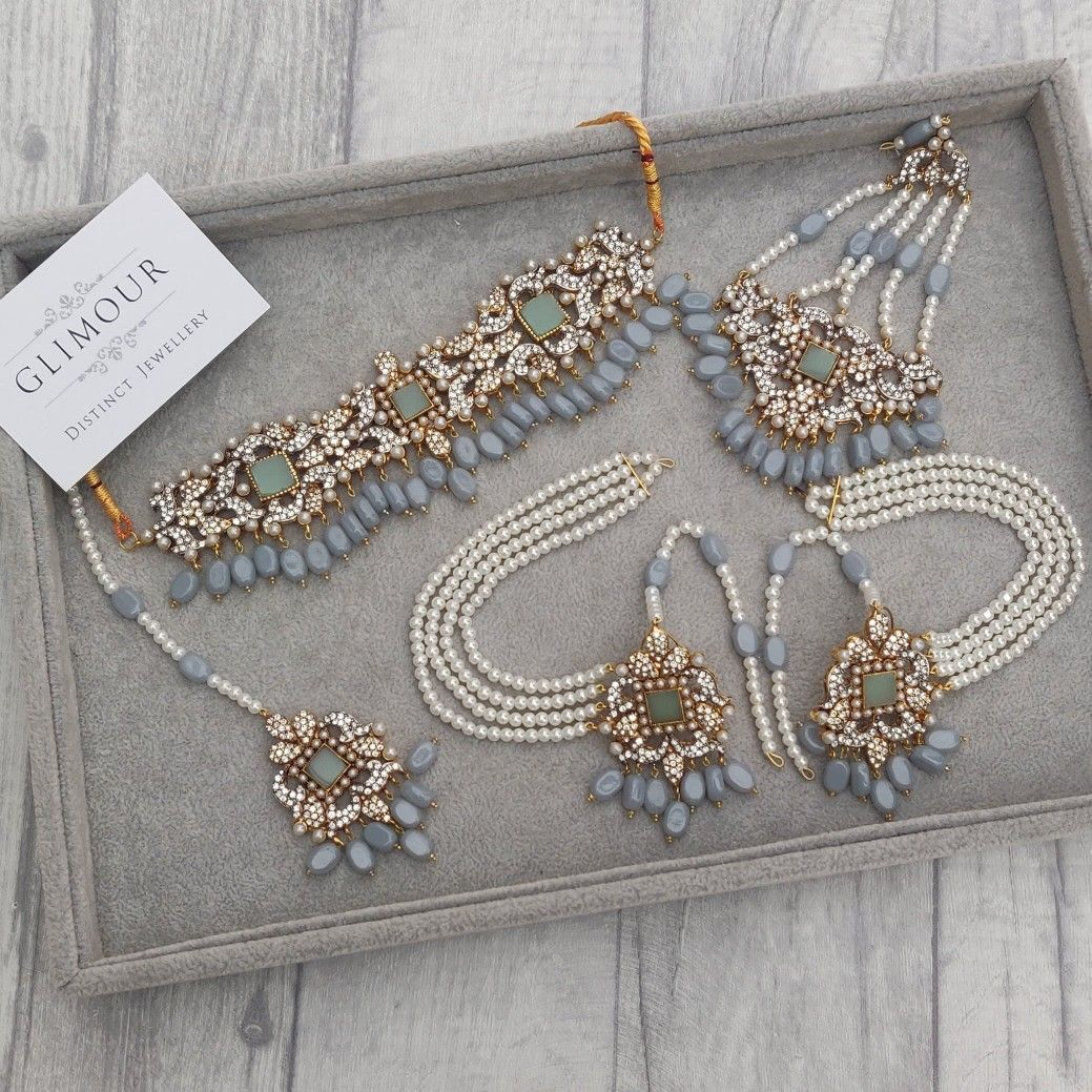 Baby Blue & Green Bridal Choker Necklace Jewellery