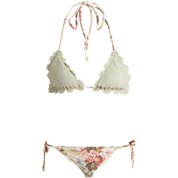 e979d885f5f71 Zimmermann Aerial crochet and floral-print bikini ($197) ❤ liked on  Polyvore featuring
