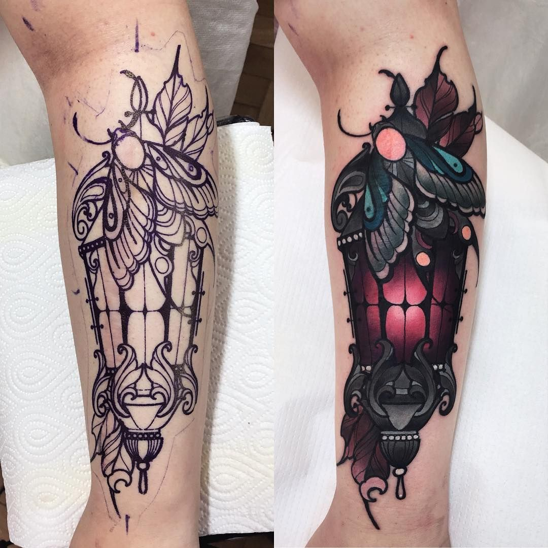I Love These Colors O L I E S I I Z On Instagram Before After We Covered A Big Scar Here Fkirons Eternalin Tattoos Cover Tattoo Sleeve Tattoos