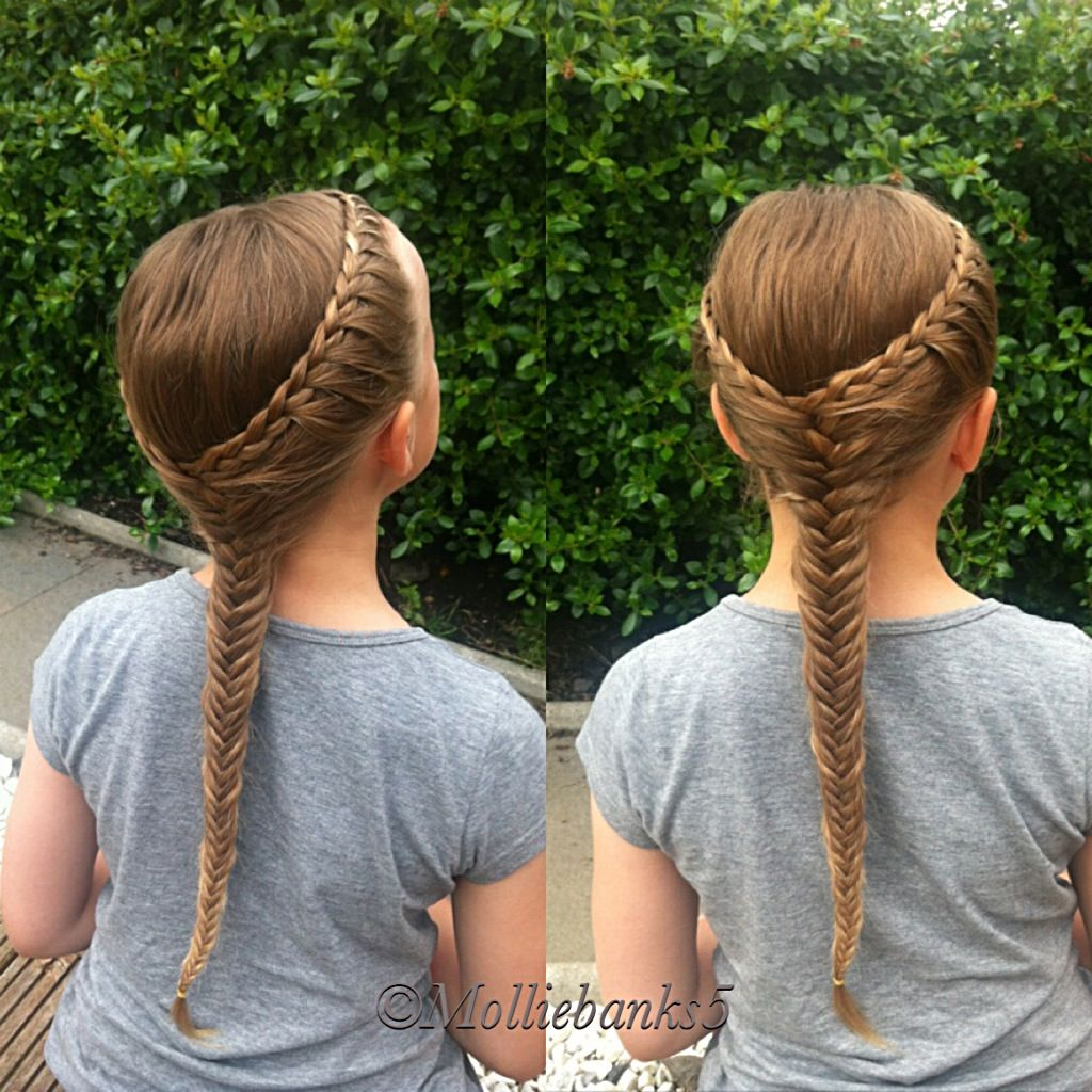 Lace braid into a fishtail braid by molliebanks frizurák