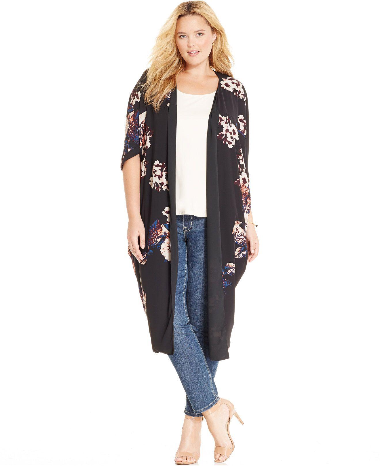 Melissa McCarthy Seven7 • Floral-Print Long Kimono | { Plus size ...