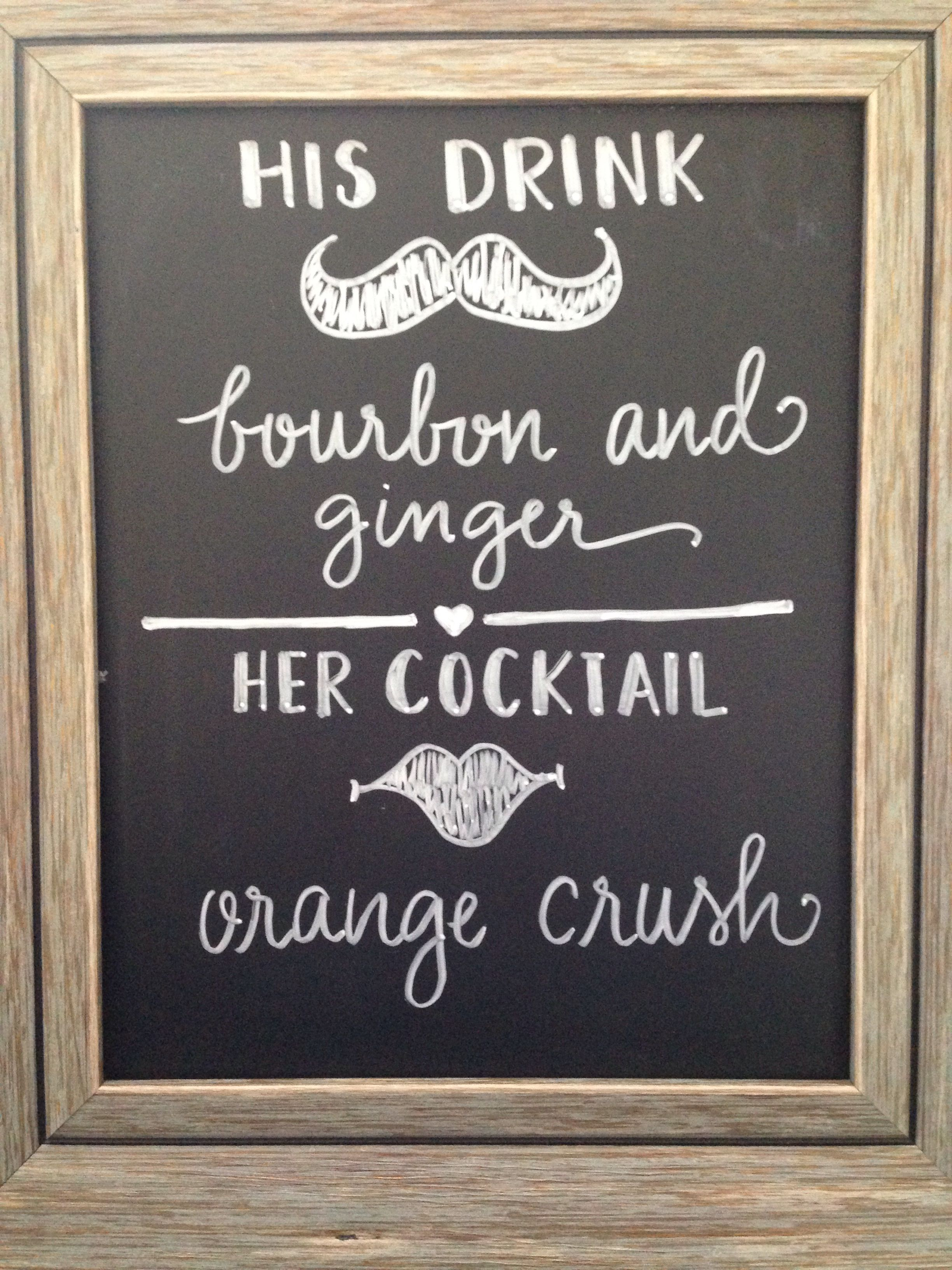 Wedding bar signs. Custom his and hers signature drink